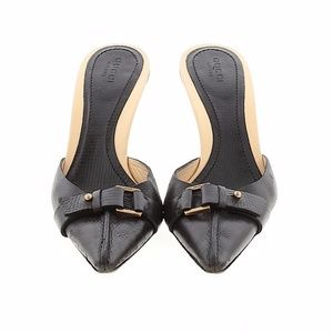 Gucci Black Pointy Open Back Heels 7.5